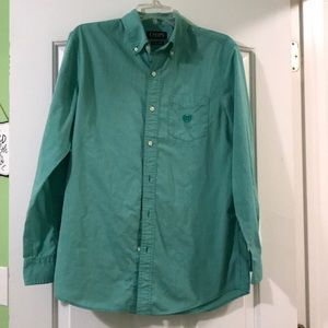 Chaps easy care green button down collar size Sml